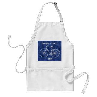 You Plus Bicycle Equals Happy Antique Stripes Blue Adult Apron