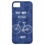 You Plus Bicycle Equals Happy Antique Stripes Blue iPhone 5 Case