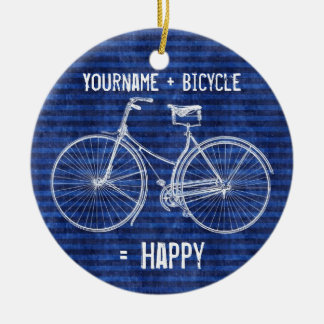 You Plus Bicycle Equals Happy Antique Stripes Blue Christmas Ornament