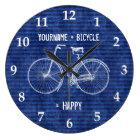 You Plus Bicycle Equals Happy Antique Stripes Blue Large Clock