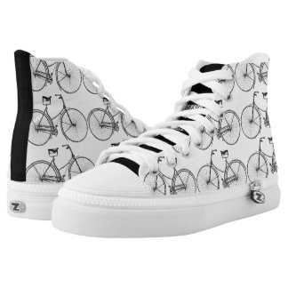 You Plus Bicycle Equals Happy Antique Wheels Bike Printed Shoes