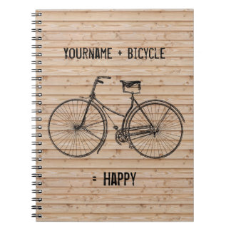 You Plus Bicycle Equals Happy Antique Wood Beige Spiral Notebook