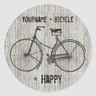 You Plus Bicycle Equals Happy Antique Wooden Plank Classic Round Sticker