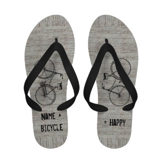 You Plus Bicycle Equals Happy Antique Wooden Plank Flip Flops