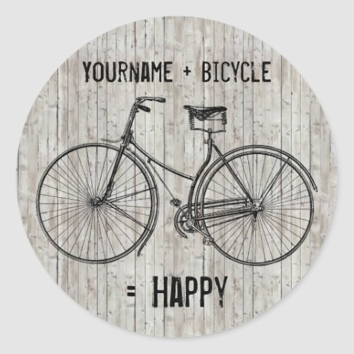 You Plus Bicycle Equals Happy Antique Wooden Plank Round Stickers