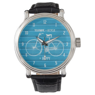 You Plus Bicycle Equals Happy Blue Wood Planks Watch
