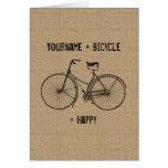 You Plus Bicycle Equals Happy Natural Burlap Sack