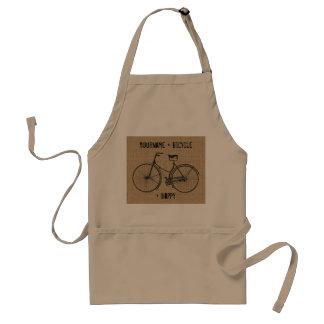 You Plus Bicycle Equals Happy Natural Burlap Sack Aprons