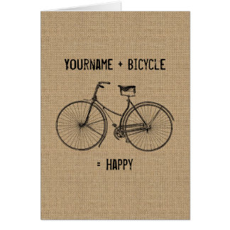 You Plus Bicycle Equals Happy Natural Burlap Sack Card