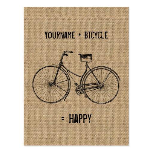 You Plus Bicycle Equals Happy Natural Burlap Sack Postcard