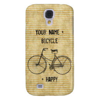 You Plus Bicycle Equals Happy Vintage Bike Yellow Galaxy S4 Case
