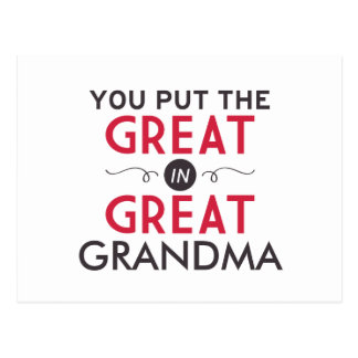 You Put the Great in Great Grandma Postcard