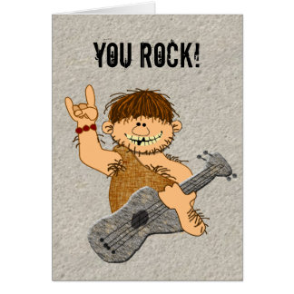 You Rock Funny Caveman Guitar Player Card Blank