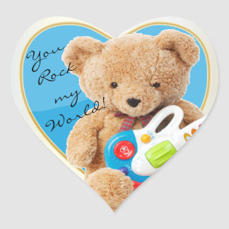 You Rock My World Teddy Bear Heart Sticker
