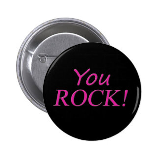 You Rock! Pink and Black 6 Cm Round Badge