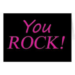 You Rock! Pink and Black Greeting Card