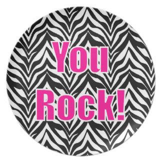 You Rock! Zebra Print Plate