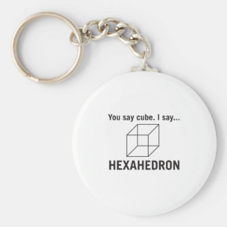 You say cube_ I say hexahedron Basic Round Button Key Ring