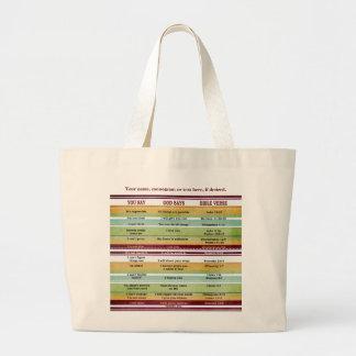 """You Say/God Says"" Inspirational Bible Verses Large Tote Bag"