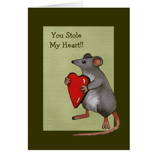 You Stole My Heart: Mouse, Love, Romance: Art Greeting Cards