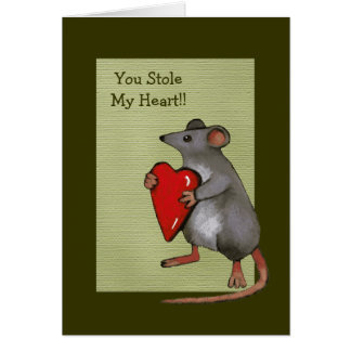 You Stole My Heart: Mouse, Love, Romance: Art Greeting Card