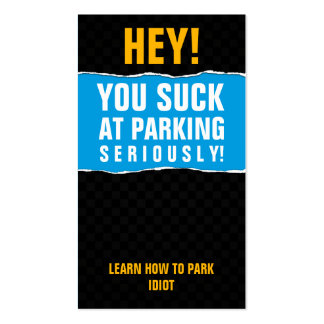 You suck at parking card business card template