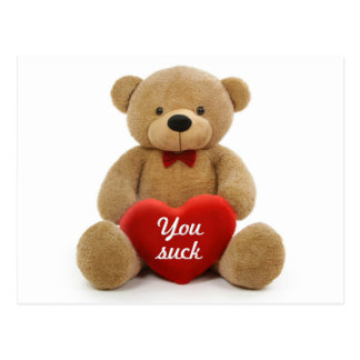 """You Suck"" teddy bear Postcard"