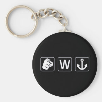 You W Anchor Key Ring