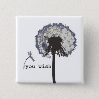 You Wish Dandelion Button, Blue 15 Cm Square Badge