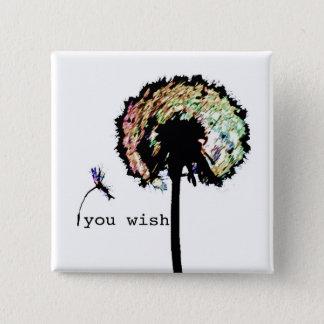 You Wish Dandelion Button, Color 15 Cm Square Badge