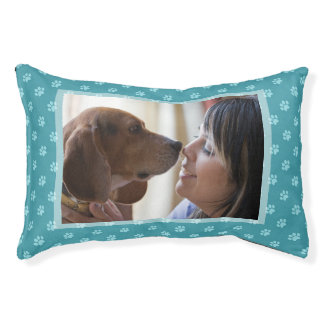 You & Your Dog Custom Photo Teal Dog Prints Pet Bed