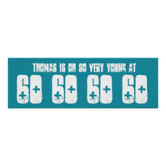 Young 60 Sixty Birthday Party Banner Teal Print