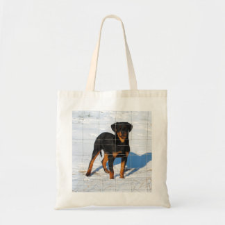Young adult puppy tote bag