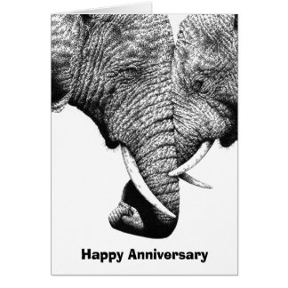Young African Elephants Anniversary Card