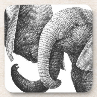 Young African Elephants Cork Coaster