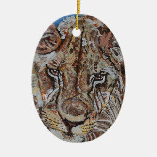 Young African Lion Ceramic Oval Decoration