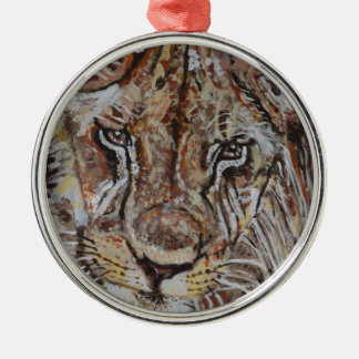 Young African Lion Silver-Colored Round Decoration