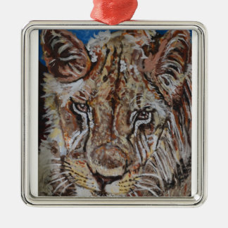 Young African Lion Silver-Colored Square Decoration
