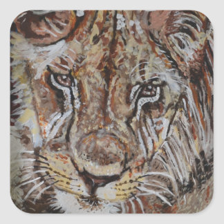 Young African Lion Square Sticker
