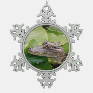 Young Alligator Snowflake Pewter Christmas Ornament