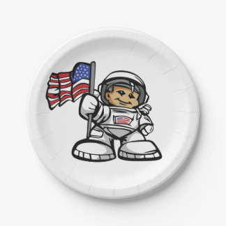 Young Astronaut in space Paper Plate