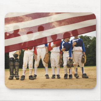 Young baseball players partially hidden by mouse mat