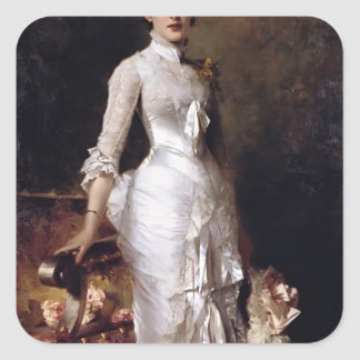 Young Beauty In A White Dress by Julius Stewart Stickers