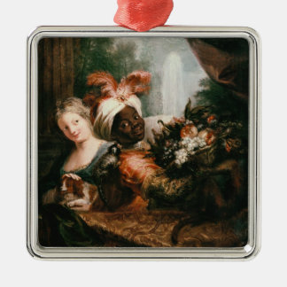 Young Black Man Holding a Basket Christmas Ornament