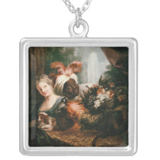 Young Black Man Holding a Basket Silver Plated Necklace