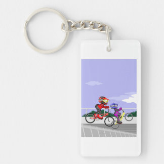 Young BMX competing with its bicycles Key Ring
