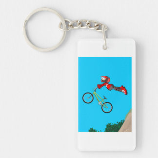 Young BMX flying by in the air with style Key Ring