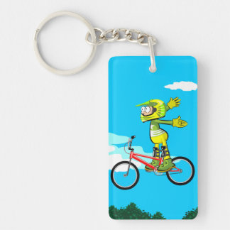 Young BMX flying by in the air without taking hold Key Ring