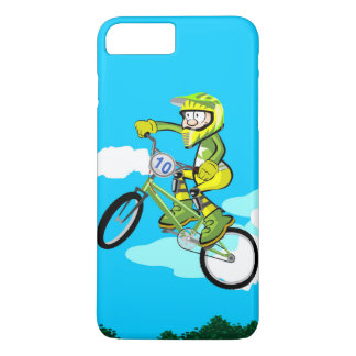 Young BMX gives a jump in their green bicycle iPhone 8 Plus/7 Plus Case