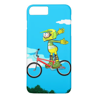 Young BMX gives a jump in their red bicycle iPhone 8 Plus/7 Plus Case
